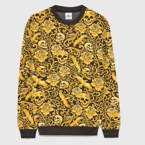 Zara Quilted Jacquard Skull Sweatshirt